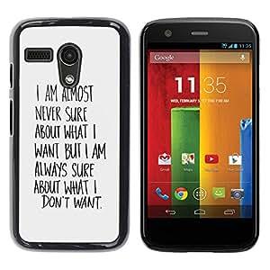 Caucho caso de Shell duro de la cubierta de accesorios de protección BY RAYDREAMMM - Motorola Moto G 1 1ST Gen I X1032 - Know What Want Wishes Quote Motivational