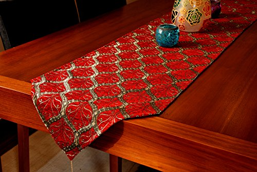 Table Runner 69x14 Luxury Peacock
