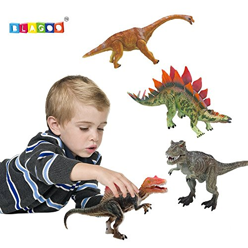 BLAGOO Dinosaur Toys with Moving Parts 4 Figures up to 9.4 inches Set (History Of Halloween For Preschoolers)