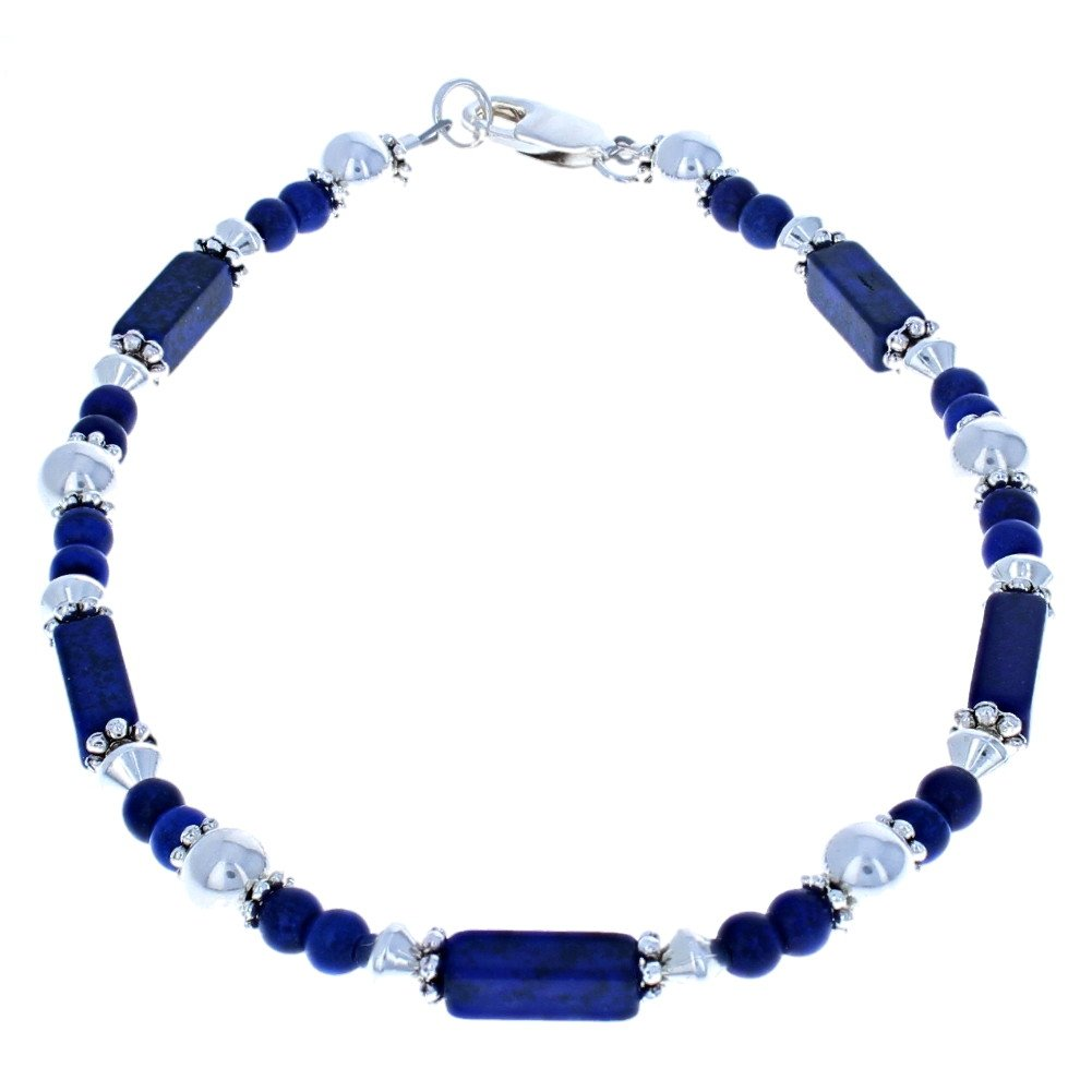 Timeless-Treasures Womens Lapis Blue Turquoise Magnesite & Sterling Silver Ladies Beaded Gemstone Anklet with Daisies - 9''