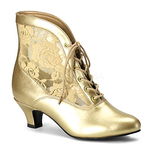 AMS Shoes Ams fm650 Women's Lace Up Kitty Heel Steampunk Victorian Ankle Boots (Color : Gold PU-Lace, Size : 11) Pu Womens Victorian Boots