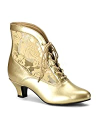 """Best-choise Women's Shoes Lace Up 2"""" Kitten Heel Steampunk Victorian Ankle Boots for Ladies Pointed Slip On Style Perfect Gift"""