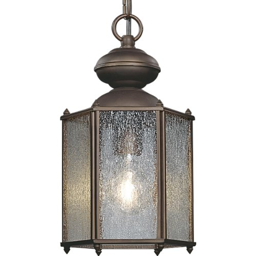 Roman Hanging Bronze - Progress Lighting P5779-19 Lantern with Clear, Seeded Glass Chain and Ceiling Mounts Both Included, Roman Bronze