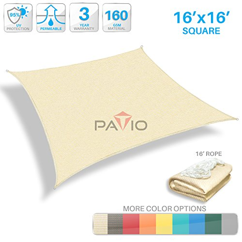 Patio Paradise 16' x 16' Tan Beige Sun Shade Sail Square Canopy - Permeable UV Block Fabric Durable Patio Outdoor - Customized Available (Square Sail Sunshade)