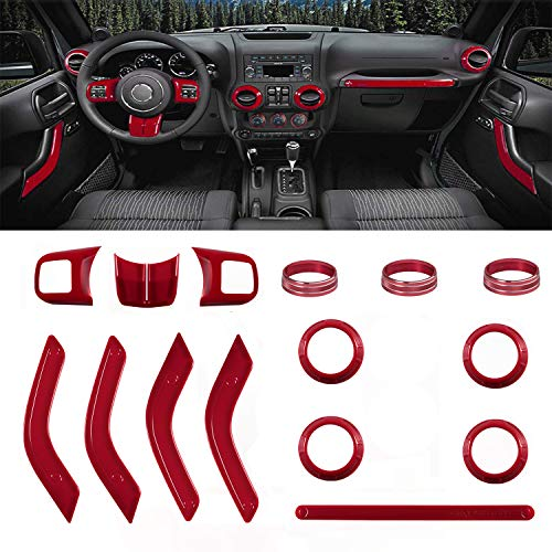 Interior Decoration Full Trim Kit 15 PCS-Steering Wheel&Center Console Trim, Door Handle Cover, Passenger Seat Handle Trim, Air Outlet & AC Ring for 2011-2018 Jeep Wrangler JK JKU 4 or 2 Door (Jeep Wrangler Interior Trim)