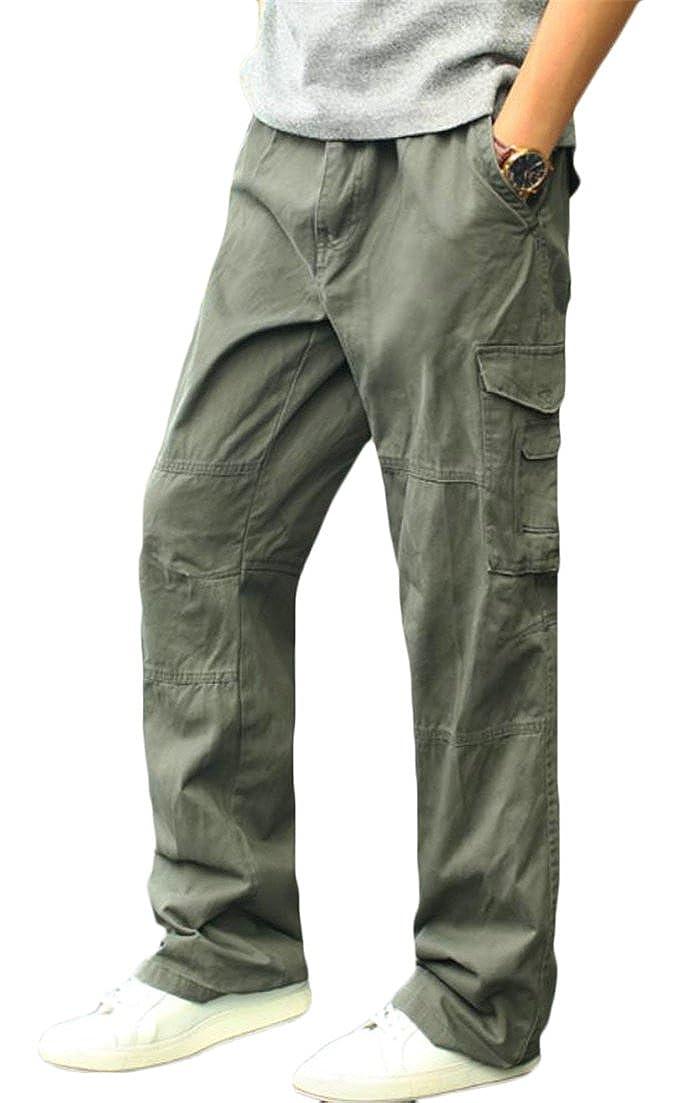 JuJuTa Men Plus Size Solid Open Bottom Trousers Multi-Pocket Outside Loose Pants