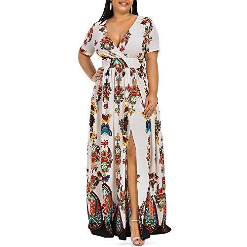 KCatsy Plus Size Dress High Waist Maxi Slit Warm White -