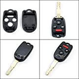 STAUBER Best Honda Key Shell Replacement for Accord, Ridgeline, Civic, and CR-V - KR55WK49308, N5F-A05TAA, N5F-S0084A - NO LOCKSMITH REQUIRED! Save money using your old key and chip! - Black