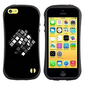 All-Round híbrido de goma duro caso cubierta protectora Accesorio Generación-I BY RAYDREAMMM - Apple iPhone 5C - Puzzle Game Children'S Mathematics 3D Black