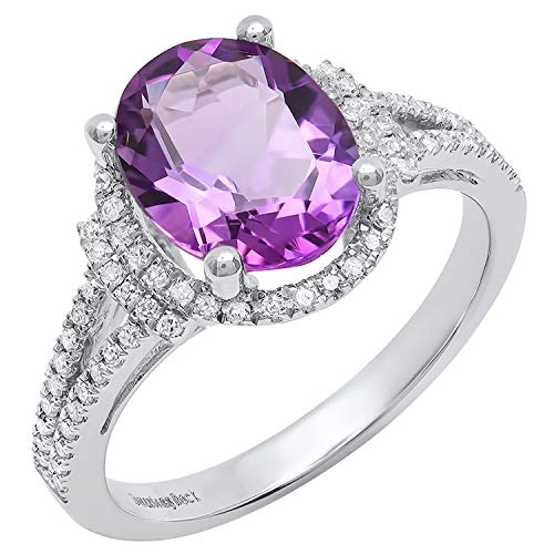 (Dazzlingrock Collection 14K 10X8 MM Oval Amethyst & Round White Diamond Ladies Halo Engagement Ring, White Gold, Size 10)