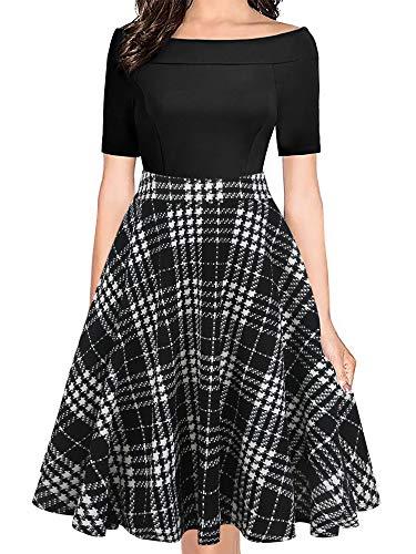 - oxiuly Women's Vintage Off Shoulder Pockets Casual Floral A-Line Party Dress OX232 (XXL, Black Plaid PT)