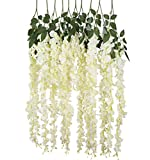 Beelu Artificial Silk Wisteria Vine Ratta Hanging Flowers | Real Looking Plants Decoration For DIY Wedding Receptions, Arches, Garlands, Dining Table Centrepieces, Graduation & Birthday Parties(White)