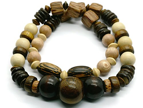 - BrownBeans, Charm All Wooden Beaded Tribal Surfer Style Mens Women Stretch Necklace (CNKT1000WHQ-A) (19.00, A01)