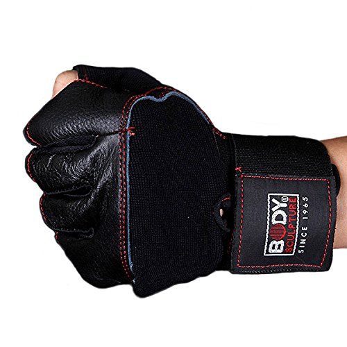 Body Sculpture Leather Fitness Gloves (Black)