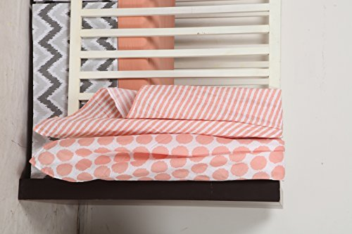 Bacati Solid Fitted Crib/Toddler Bed Sheets 100% Cotton Percale, Coral, 2-Pack