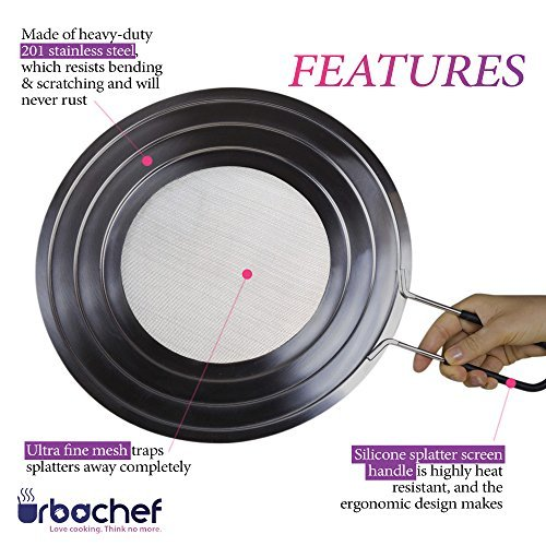 UrbaChef Professional Splatter Screen - Premium Stainless Steel Fine Mesh Grease Guard With Ergonomic Silicone Covered Handle - 11.75'' Heavy Duty Multipurpose Splash Guard, Steamer and Strainer
