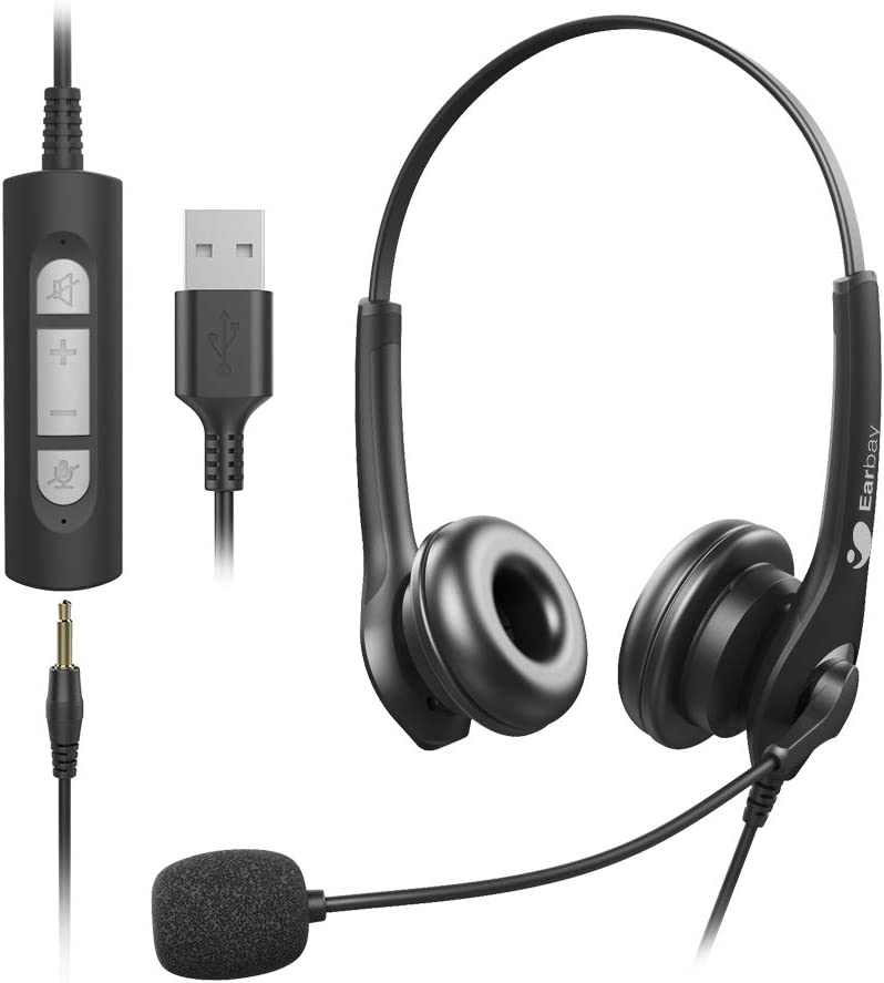 Upgraded USB 3.5mm 2 in 1 Corded Stereo Headset with Crystal Microphone Noise Cancelling,Pro-Sound Chip,Volume Control,Mute Button for Home,Office,Binaural Both-Sided Headphone for Call Center,PC