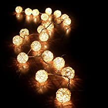 Weksi®2.2M 20 Balls LED String Lights Battery Operated Lights Rattan Fairy Lights Christmas Lihts Used For Wedding and Party Decoration