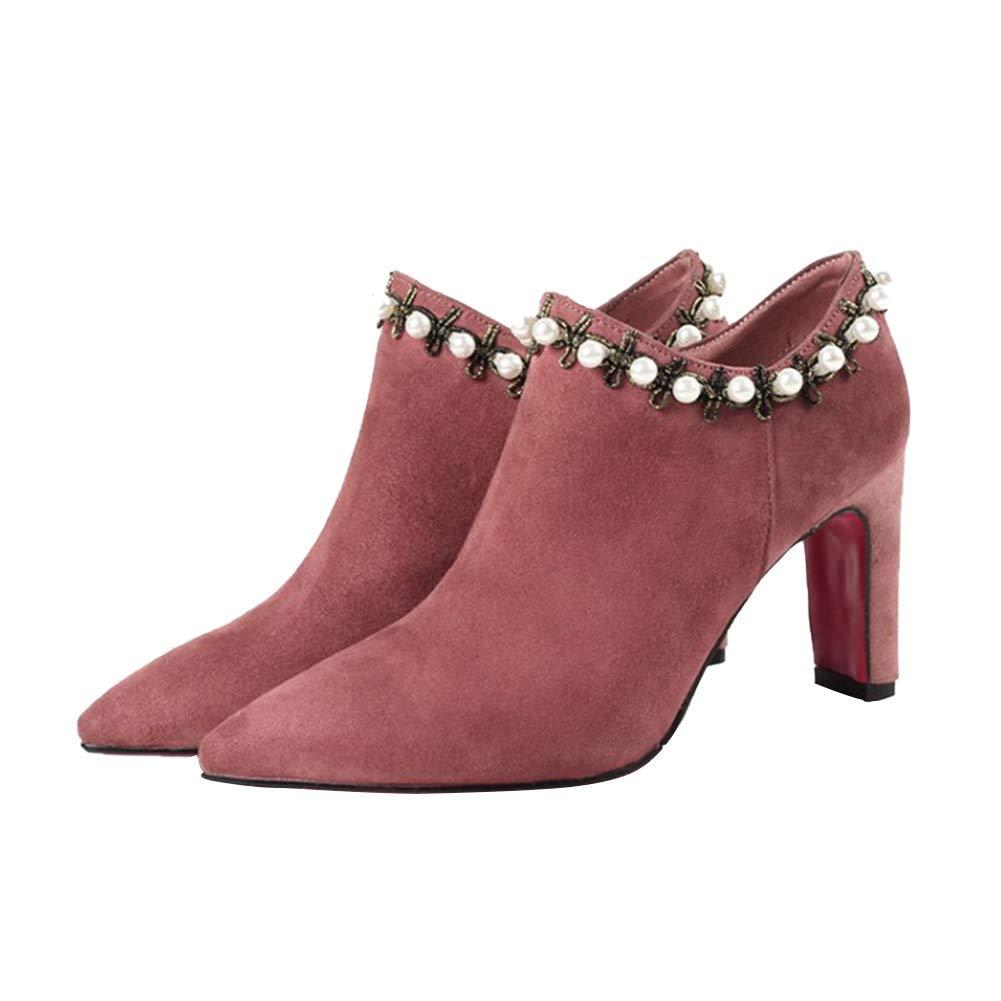 Damen Damen Damen Spitz High Heel Stiefeletten Tragen Sie Besteändig Warm halten Seitlicher Reißverschluss Stiefelies Mode Herbst und Winter Stiefel (Absatzhöhe  8CM) 92400d