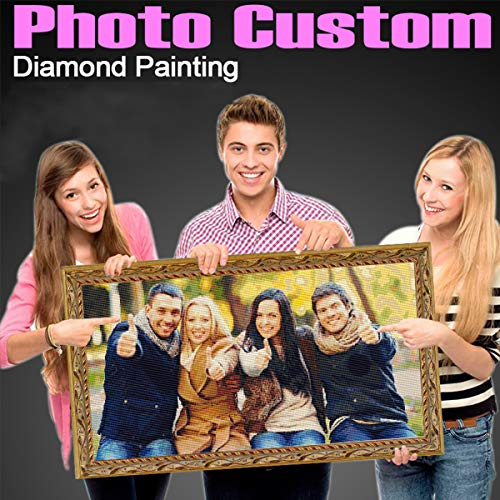 5D DIY Diamond Painting Private Customized Photo Custom Personalized Full Drill Diamond Rhinestone Embroidery with Square Beads for Decoration Gifts ()