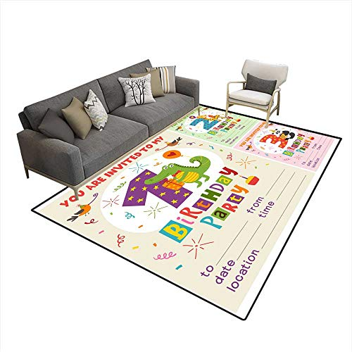 Happy Birthday Invitation Card Template with Funny Animals from to 6'x7' (W180cm x L210cm ()