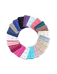 30PCS Colorful Women Girls' Bra Extenders 3 Hooks 3 Rows Elastic Bra Strap Extension Hook Color Random