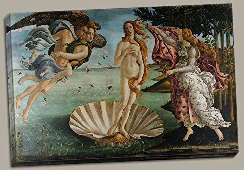 The Birth of Venus, c.1485 Art Poster Print by Sandro Botticelli, Hand-Stretched 12x18in Canvas