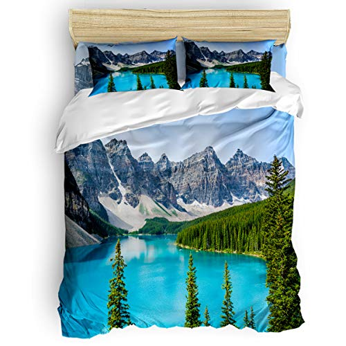 Forest Wake Pillowcase Printed - Arts Language Home Duvet Cover Set Queen Size for Kids/Adults/Teens Canada Natural Scenery Mountain Lake Forest Soft 4 Pcs Bedding Set with Duvet Cover, Fitted Sheet, Pillowcases