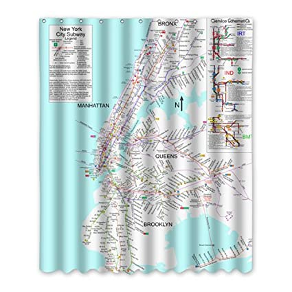 UUBath Beautiful Odorless Bathroom Shower Curtain Set With Hooks Showercurtain Personalized New York City Subway Map