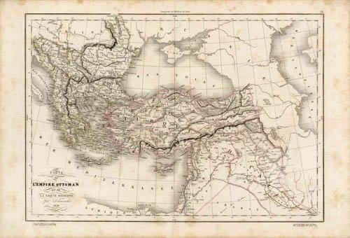 Carte de l'Empire Ottoman et de la Grece Moderne par (Delamarche Map)