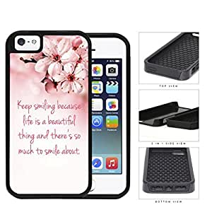 Keep Smiling Quote Cherry Blossom 2-Piece Dual Layer High Impact Rubber Silicone Cell Phone Case Apple iPhone 5 5s