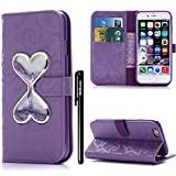 BtDuck Leather Case for Lady iPhone 7 Purple Glitter Bling Purple PU Stand Phone Protector Leather Wallet CaseCover Shockproof Bumper Card Holder Slots Magnetic Closure