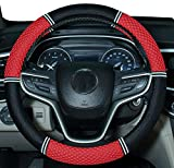 Amuahua Needle Steering Wheel Covers Universal 15 inch with Soft Fiber Leather Braid for Car Truck SUV (red)