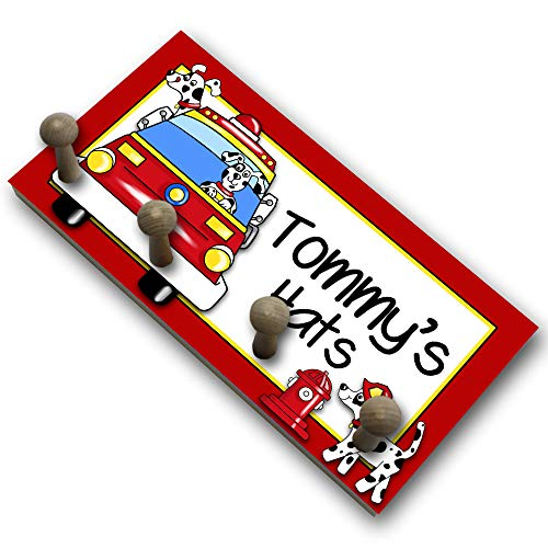 (Toad and Lily Firetruck Dalmation Rescue Puppy Dog HAT Holder - Personalized Hat Holder - Clothing Rack - Hat Organizer for Boys)