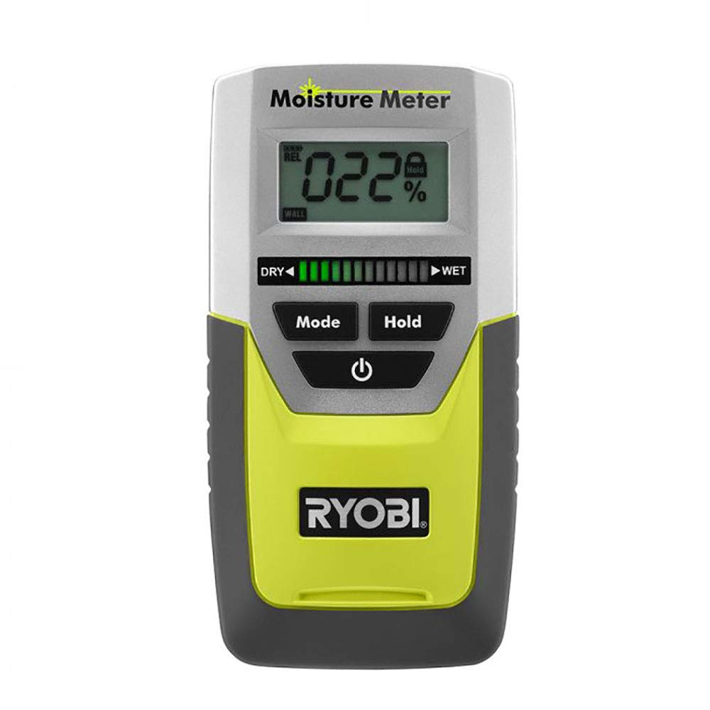Ryobi E49MM01 Digital LED Pinless Moisture Meter for Softwood Drywall and Masonry 9 Volt Battery Included