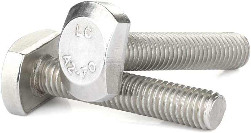 Stainless Steel A2-70 M8 x 20mm T-Slot Drop-in Stud Sliding Bolts T Shape Screws 10 PCS Full Thread