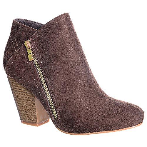 Heel Women's Breeze Nature Booties Block Ankle Brown FF47 7SIqwqB