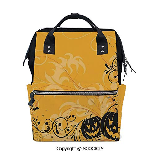 SCOCICI 3D Printed Laptop Daypack,Carved Pumpkins with Floral Patterns Bats and Webs Horror Artwork,Vivid Custom Graphic Design (The Best Carved Pumpkin In The World)