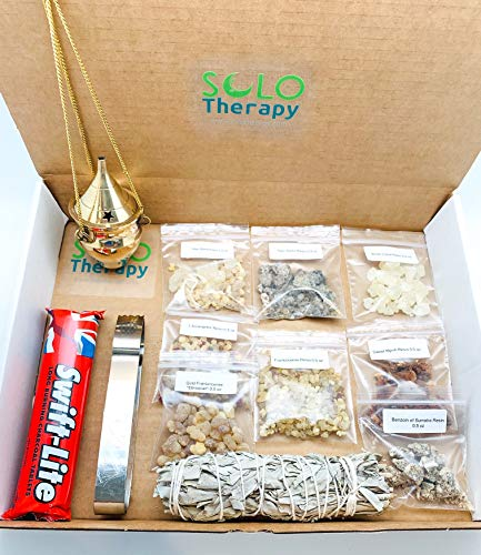Resin Incense Set: Palo Santo, Altar Blend, Sweet Myrrh, White Copal, Frankincense, 7 Arcangeles, Benzoin, Ethiopian Frankincense | White Sage, Charcoal Tablets, Tong, Brass Hanging Censer Burner