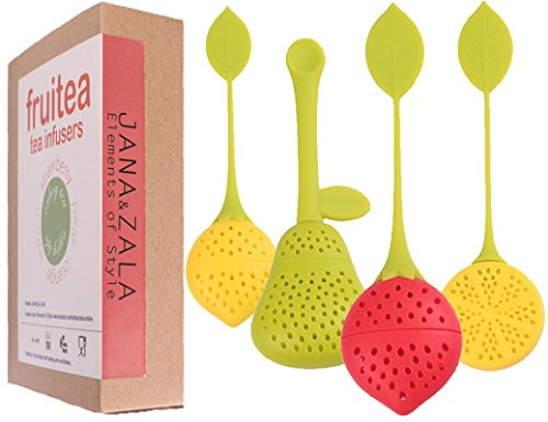 Fruitea Tea Infuser - 4 Silicone Tea Strainers. Tea filter for Loose Leaf Tea in shape of fruits by J&Z (strawberry, pear, lemon and orange). Perfect Tea Set for tea cups and teapot.