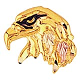 Eagle Head Tie Tack, 10k Yellow Gold, 12k Green and Rose Gold Black Hills Gold Motif