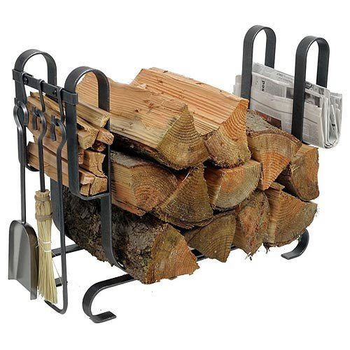 Enclume Large Modern Log Rack with Fireplace Tools, Hammered Steel