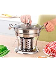 Hinomaru Collection Shabu Shabu Mini Hot Pot Stainless Steel With Glass Lid Chafing Dish Single Serving Mini Casserole Pot Cooking Gel Fuel Cookware
