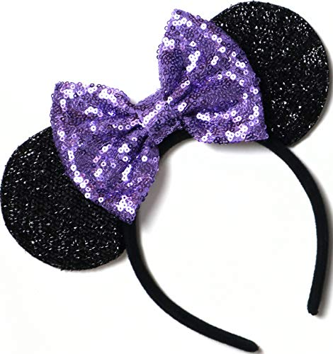 CLGIFT Purple Mickey Ears, Sparkly Mickey Ears, Daisy