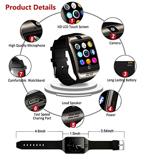 Bluetooth Smart Watch for Andriod phones, iphone Smartwatch with Camera,Waterpfoof Smart watches,Watch Phone Touchscreen for Android Samsung IOS Iphone X 8 7 6 5 Plus Men Women Youth (black-02) by Newatch (Image #6)