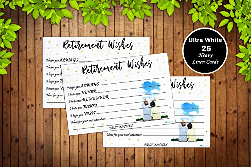 - 25 Retirement Party Advice Well Wish Card For Men or Women Retired Supplies and Decorations, Happy Retiree Celebration Gift Bucket List Wish Jar, Funny Personalized Officially Retired Linen Card Set