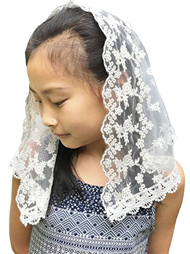 Flowergirl French Lace Headband Soft Headwrap Head Covering Church Veil F2 (Ivory)