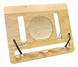 Bamboo Reading Cook Book Stand Adjustable and Portable Recipe Document Holder