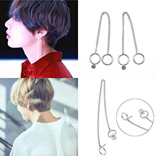 paweena PAIR KPOP BTS V Earrings Bangtan Boys V Doulbe Ring Chain Fashion Stud Earrings ()