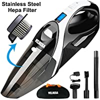 Cordless Vacuum, WELIKERA 12V 100W Hand-held Cordless Vacuum Cleaner, Powerful Portable Pet Hair Vacuum, Cordless Rechargeable Dust Busters for Home and Car Cleaning, with A Carrying Bag, Black